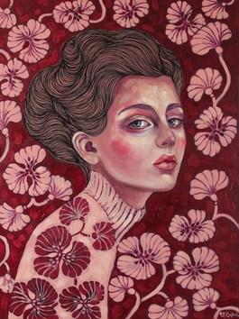 Obraz do salonu artysty Viola Bąbol pod tytułem MUZA ADELINA W OGRODZIE