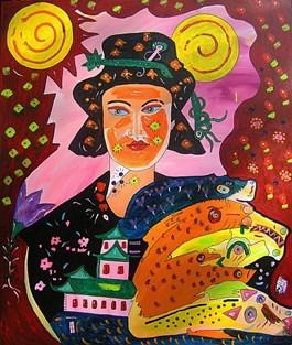 Obraz do salonu artysty Radosław Pytelewski pod tytułem GEJSZA, OPIEKUNKA GADÓW