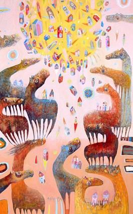 Obraz do salonu artysty Grzegorz Skrzypek pod tytułem WIGILIA GRAVITOSTWORKÓW