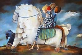 Obraz do salonu artysty Małgorzata Piątek-Grabczyńska pod tytułem STAWIAM NA CZARNEGO KONIA