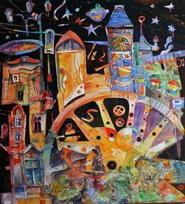 Obraz do salonu artysty Krzysztof Ludwin pod tytułem KATOWICKA KARUZELA Z CYKLU BAJKO O MIASTACH