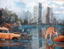 Obraz do salonu artysty Janusz Orzechowski pod tytułem STO SZEŚĆDZIESIĄT LAT PÓŹNIEJ