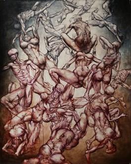 Obraz do salonu artysty Wojciech Pelc pod tytułem UPADEK LUDZKI