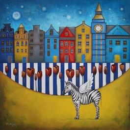 Obraz do salonu artysty Małgorzata Rukszan pod tytułem OGRODY Z CYKLU POGODA W PASKI