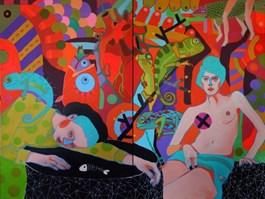 Obraz do salonu artysty Marcin Painta pod tytułem ONA I KAMELEONY