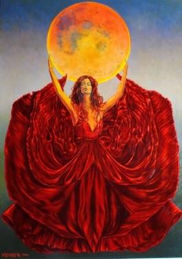 Obraz do salonu artysty Mariusz Zdybał pod tytułem RED MOON