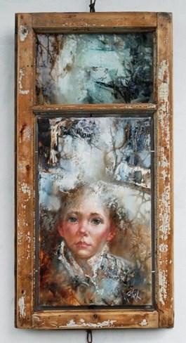 Obraz do salonu artysty Stanisław Sugintas pod tytułem W OKNIE