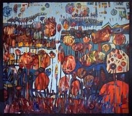 Obraz do salonu artysty Grzegorz Skrzypek pod tytułem SADY MALINOWE