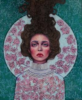 Obraz do salonu artysty Viola Bąbol pod tytułem MUZA O ULOTNYM PIĘKNIE RÓŻANEGO OGRODU