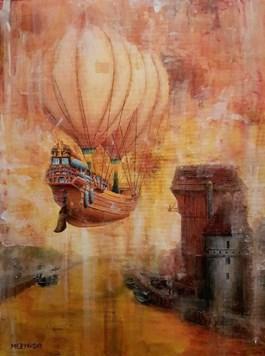 Obraz do salonu artysty Arkadiusz Mężyński pod tytułem PRZYBYCIE KUPCÓW DO GDAŃSKA