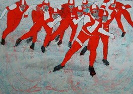 Living room painting by Monika Ślósarczyk titled SPEED SKATERS