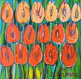 Obraz do salonu artysty Edward Dwurnik pod tytułem POMARAŃCZOWE TULIPANY