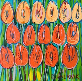 Living room painting by Edward Dwurnik titled ORANGE TULIPS