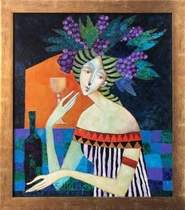 Obraz do salonu artysty Jan Bonawentura Ostrowski pod tytułem DZIEWCZYNA Z KIELICHEM WINA