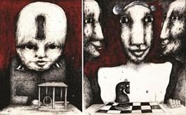 Obraz do salonu artysty Piotr Kamieniarz pod tytułem KLUCZNIK I SZACHISTA
