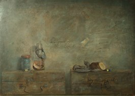 Living room painting by Wiesław Nowakowski titled BEIGE STILL NAURE