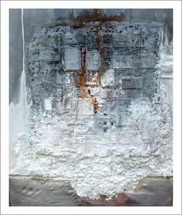 Living room painting by Stanisław Tomalak titled PIECE no 588 (ARCHEOLOGY SERIES)