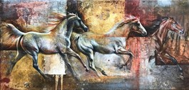 Living room painting by Kamila Karst titled GALLOP