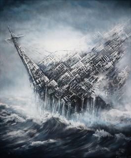Obraz do salonu artysty Andrzej Fronczak pod tytułem LATAJĄCY HOLENDER METROPOLITARNY