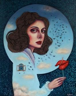 Obraz do salonu artysty Viola Bąbol pod tytułem MUZA I WIOSENNY LOT