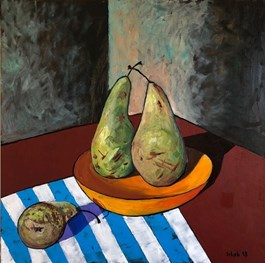 Living room painting by David Schab titled STILL LIFE WITH PEARS
