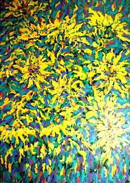 Living room painting by Adam Bojara titled SUNFLOWERS,