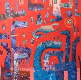 Obraz do salonu artysty Grzegorz Skrzypek pod tytułem RAKIETODOMKI I BŁĘKITNE GRAVITOSTWORKI