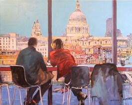 Obraz do salonu artysty Piotr Rembieliński pod tytułem PORANNA KAWA W LONDYNIE