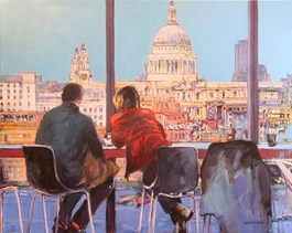 Living room painting by Piotr Rembieliński titled MORNING COFFE IN LONDON