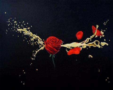 Living room painting by Dominik Balcerzak titled GOLDEN SHOT
