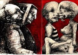 Obraz do salonu artysty Piotr Kamieniarz pod tytułem SPOWIEDNIK I ZAKAZANY OWOC