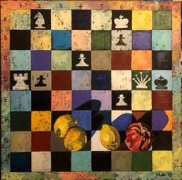 Obraz do salonu artysty David Schab pod tytułem SZACH MAT Z OWOCAMI