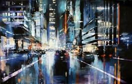 Obraz do salonu artysty Piotr Zawadzki pod tytułem SZUMY MIASTA NYC NIGHT RIDERS