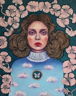 Obraz do salonu artysty Viola Bąbol pod tytułem MUZA I WIOSENNY MOTYL