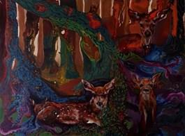 Obraz do salonu artysty Barbara Kozaczkiewicz pod tytułem SARNY