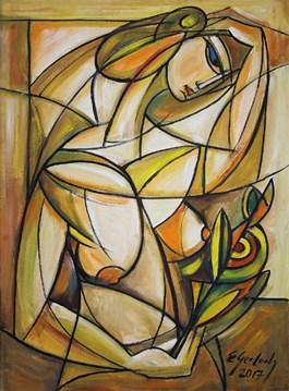 Obraz do salonu artysty Eugeniusz Gerlach pod tytułem Akt z gałązką