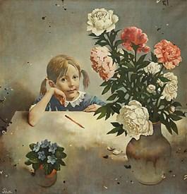 Obraz do salonu artysty Siergiej Rimaszewski pod tytułem Piwonie