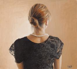 Obraz do salonu artysty Alina Sibera pod tytułem Portret Oli w czarnej koronce