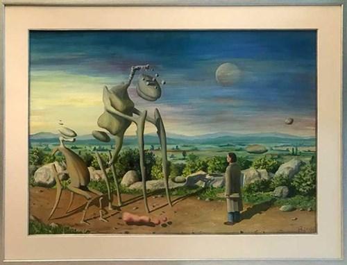 Obraz do salonu artysty Jarosław Jaśnikowski pod tytułem Spotkanie - Dzień dobry panie Jaśnikowski