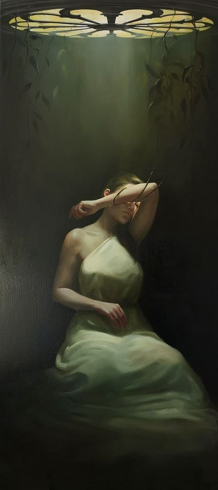 Living room painting by Marzena Machaj titled Awakening