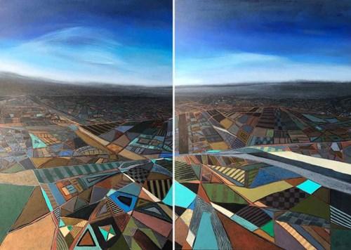 Obraz do salonu artysty Iga Kamyk pod tytułem Pejzaż abstrakcyjny (dyptyk)