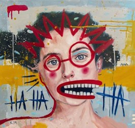 Living room painting by Grzegorz Kufel titled Laughable