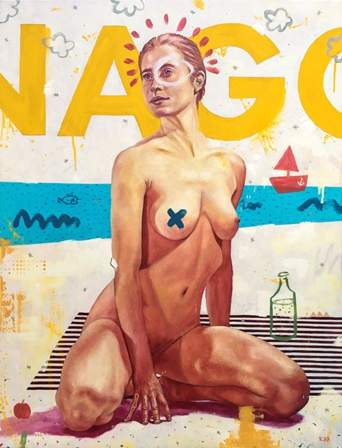 Living room painting by Grzegorz Kufel titled Naked