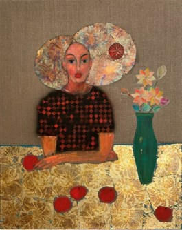 Living room painting by Bartosz Frączek titled Girl With Apples