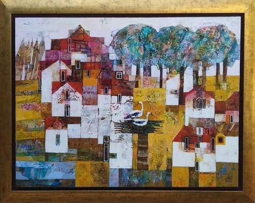 Obraz do salonu artysty Alicja Słaboń-Urbaniak pod tytułem Bociany