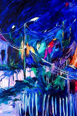 Living room painting by Iwona  Golor titled Greece by Night 4
