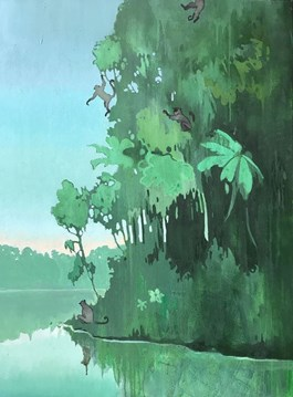 Living room painting by Agnieszka Zabrodzka titled Jungle Gym