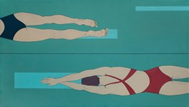 Living room painting by Paulina Rychter titled Swimmers