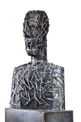 Living room sculpture by Ignacy Nowodworski titled Confidant With Wings