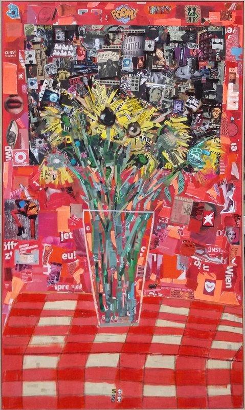 Living room painting by Sasha Knezevic titled BOOM